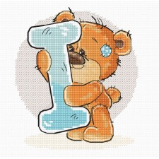 Cross stitch kit Teddy Bear Alphabet Letter I - Luca-S