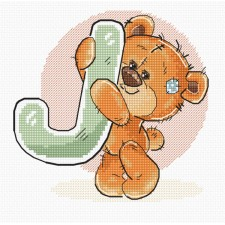 Cross stitch kit Teddy Bear Alphabet Letter J - Luca-S