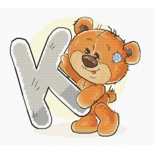 Cross stitch kit Teddy Bear Alphabet Letter K - Luca-S
