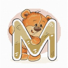 Cross stitch kit Teddy Bear Alphabet Letter M - Luca-S