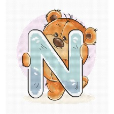 Cross stitch kit Teddy Bear Alphabet Letter N - Luca-S