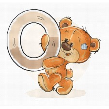 Cross stitch kit Teddy Bear Alphabet Letter O - Luca-S