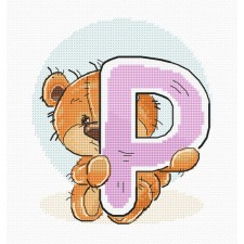 Cross stitch kit Teddy Bear Alphabet Letter P - Luca-S