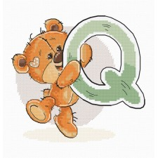Cross stitch kit Teddy Bear Alphabet Letter Q - Luca-S