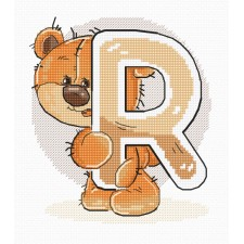 Cross stitch kit Teddy Bear Alphabet Letter R - Luca-S