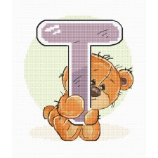Cross stitch kit Teddy Bear Alphabet Letter T - Luca-S