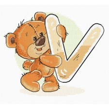 Cross stitch kit Teddy Bear Alphabet Letter V - Luca-S