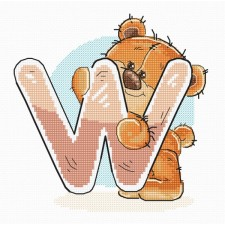 Cross stitch kit Teddy Bear Alphabet Letter W - Luca-S