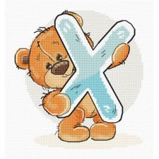 Cross stitch kit Teddy Bear Alphabet Letter X - Luca-S