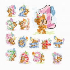 Cross stitch kit Teddy bear Numbers 0-9 - Luca-S