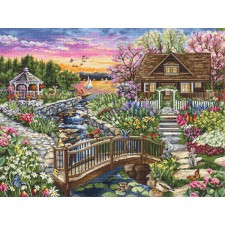 Cross stitch kit Spring Blooms on the Lake  - Luca-S