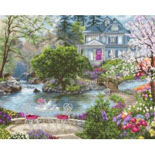 Cross stitch kit Waterside Tea - Luca-S