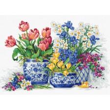 Cross stitch kit Spring flowers - Luca-S