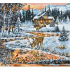 Cross stitch kit Snowy Cabin