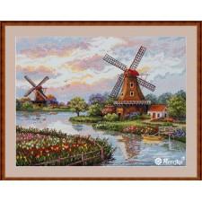 Cross stitch kit Dutch Windmills - Merejka