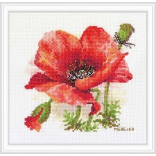 Cross stitch kit Red Poppy - Merejka