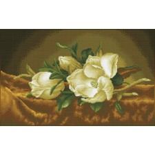 Diamond Dotz Magnolias on gold velvet (après Martin Johnson Heade)