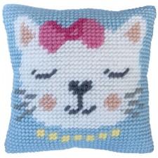 Cushion cross stitch kit Kitten Purr - Needleart World