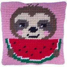 Cushion cross stitch kit Sloth Munch - Needleart World