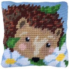 Cushion cross stitch kit Daisy Hedgehog - Needleart World