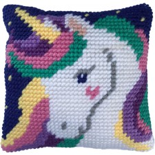 Cushion cross stitch kit Star Light Unicorn - Needleart World