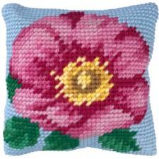 Cushion cross stitch kit Wild Rose - Needleart World