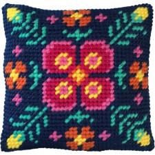 Cushion cross stitch kit Fern Mandala - Needleart World