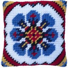 Cushion cross stitch kit Indian Blue - Needleart World