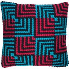 Cushion cross stitch kit Blue & Red Bargello - Needleart World