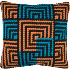 Cushion cross stitch kit Blue & Gold Bargello - Needleart World