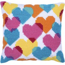 Cushion cross stitch kit Heart Collage - Needleart World