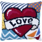 Cushion cross stitch kit Patchwork Love - Needleart World