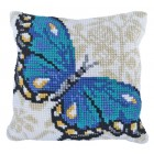 Cushion cross stitch kit Blue Butterfly - Needleart World