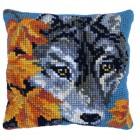 Cushion cross stitch kit Autumn Wolf - Needleart World