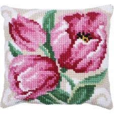 Cushion cross stitch kit Pink Tulips - Needleart World