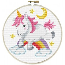 Pre-printed cross stitch kit Unicorn Frolic - Needleart World