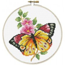 Pre-printed cross stitch kit Butterfly Bouquet - Needleart World