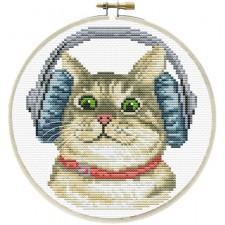 Pre-printed cross stitch kit DJ Kitty - Needleart World