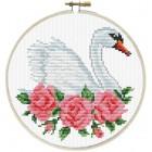 Pre-printed cross stitch kit Rose Swan - Needleart World