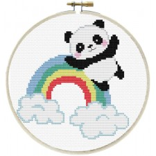 Pre-printed cross stitch kit Rainbow Panda - Needleart World