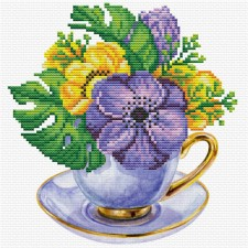 Pre-printed cross stitch kit Mauve Cup - Needleart World