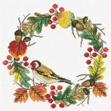 Pre-printed cross stitch kit Autumn Wreath - Needleart World