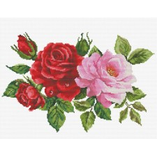 Pre-printed cross stitch kit Rose Bouquet - Needleart World