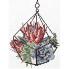 Pre-printed cross stitch kit Succulent Garden 1 - Needleart World