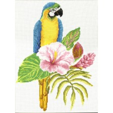 Pre-printed cross stitch kit Hibiscus Macaw - Needleart World