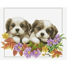 Pre-printed cross stitch kit Peeking  Pups - Needleart World