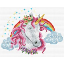 Pre-printed cross stitch kit Rainbow Unicorn - Needleart World