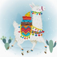 Pre-printed cross stitch kit Holiday Lama - Needleart World