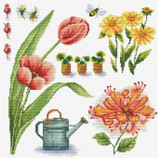 Pre-printed cross stitch kit Garden Sampler 1 - Needleart World