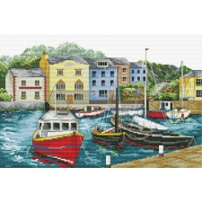 Pre-printed cross stitch kit Fishing Village - Needleart World